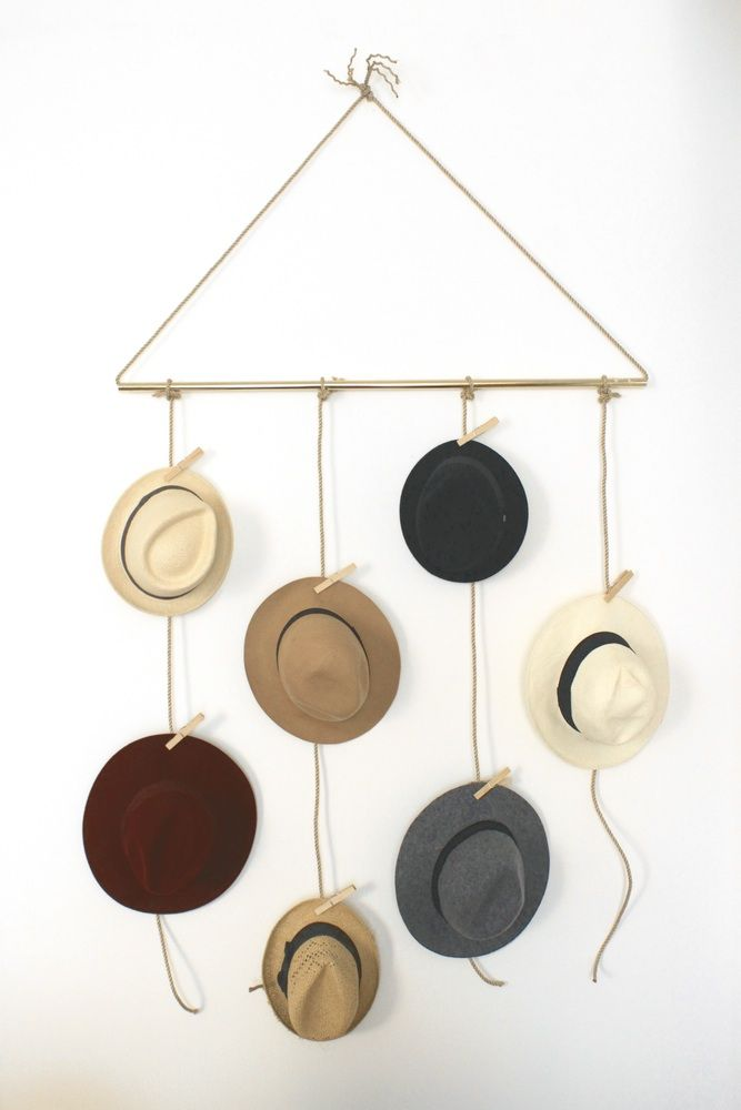 Love this DIY hat storage