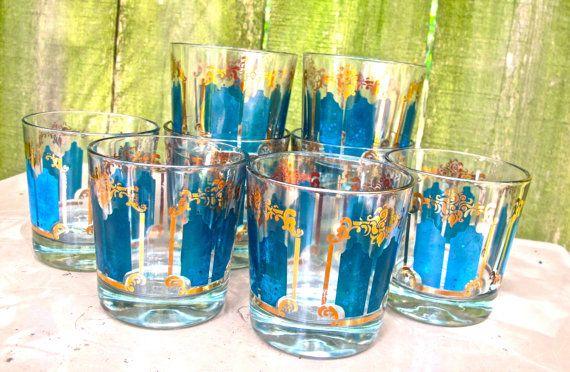 midcentury bar glasses  1950s60s blue/gold highball by mkmack, $38.00