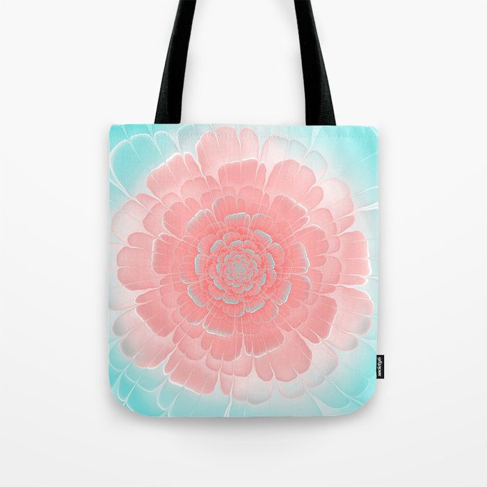 Romantic aqua and pink flower, digital abstracts Tote Bag #OksanaAriskina #Artworks #HomeDecor #FineArtPrints #FineArtAbstract #Fractal #Abstract #ArtForSale #Blue #Pink #Peach #Coral #Flower #society6 #society6art