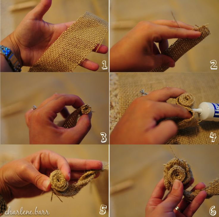 easy DIY burlap flowers (would work w/ fabric rosette for headband or clip as well)