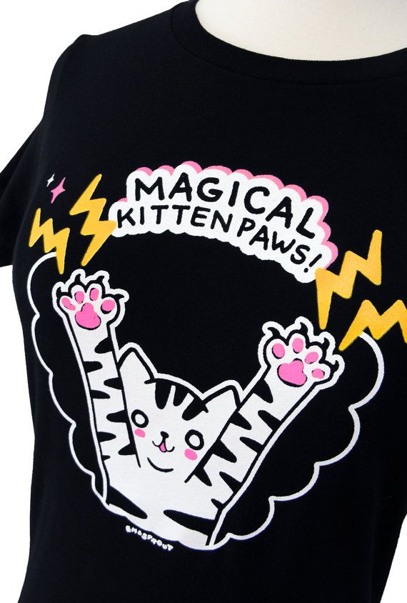 Cat TShirt  MAGICAL Kitten Paws Ladies Shirt  Size by emandsprout, $18.00