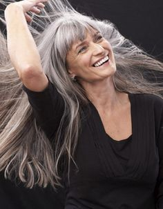 Long gray hair with bangs
