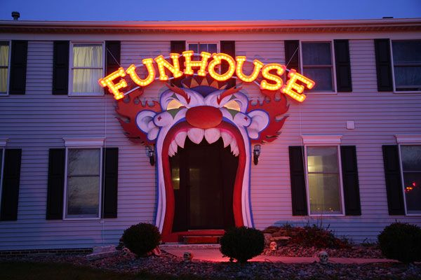 Creepy carnival was our 2012 Halloween theme. Hand built this 15ft tall evil clown facade with lighted eyes and the 15ft wide lighted funhouse sign. Sold the facade to a haunted house in Barberton, Ohio and the funhouse sign is available for $500 or 75 per letter.