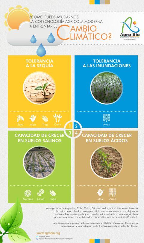 Fuente: http://agrobio.org/ Infografía sobre biotecnoloxía e loita contra o cambio climático. #biotecnoloxía #cambio climático #agricultura #infografía Infografía sobre la biotecnología agrícola y como sirve para frenar el cambio climático. #biotecnología