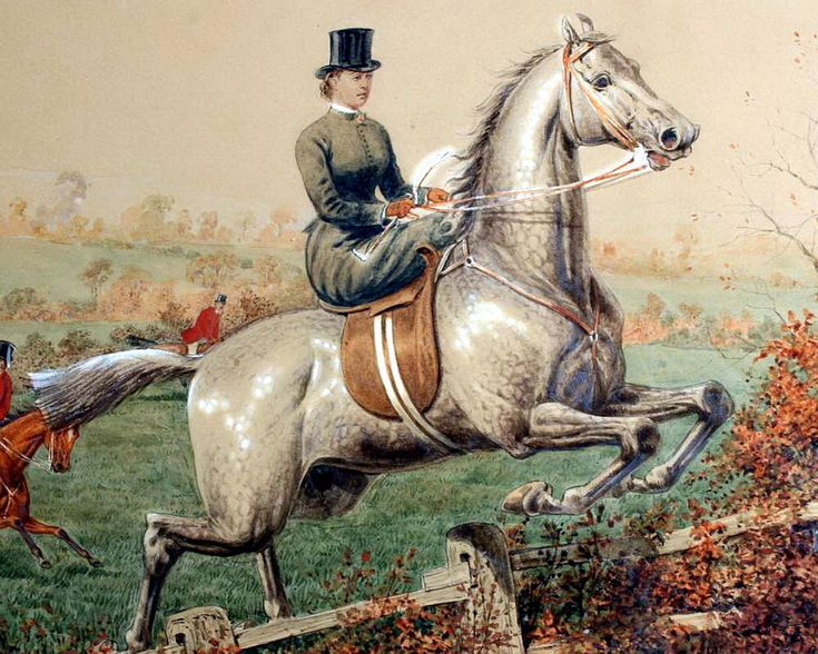 8x10 Art Print Equestrian Sports Fox Hunt c19th Victorian Lady Side Saddle Horse
