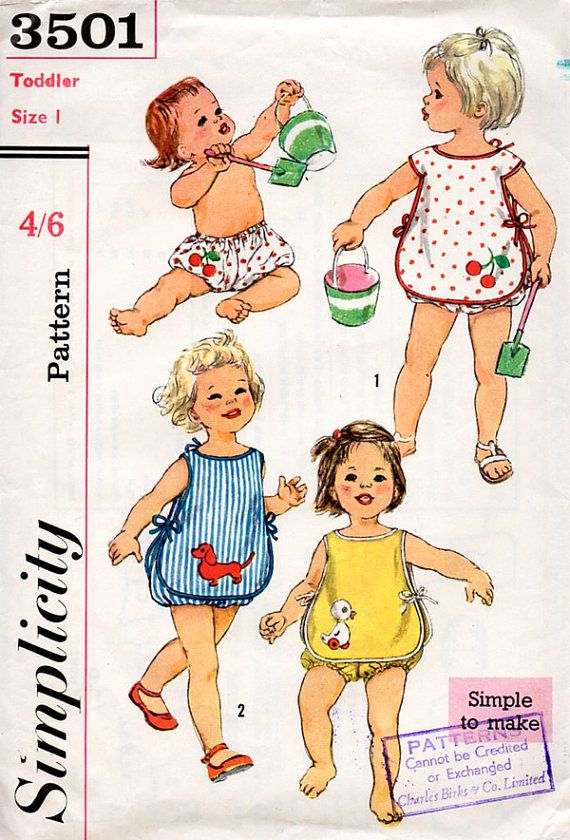 1960s Baby or Toddlers Sunsuit Vintage Sewing Pattern With Transfers - Simplicity 3501 Size 1 Year UNUSED