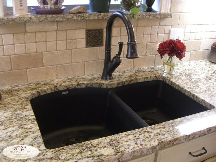 Composite Granite Double Bowl Sink Orb Delta Faucet