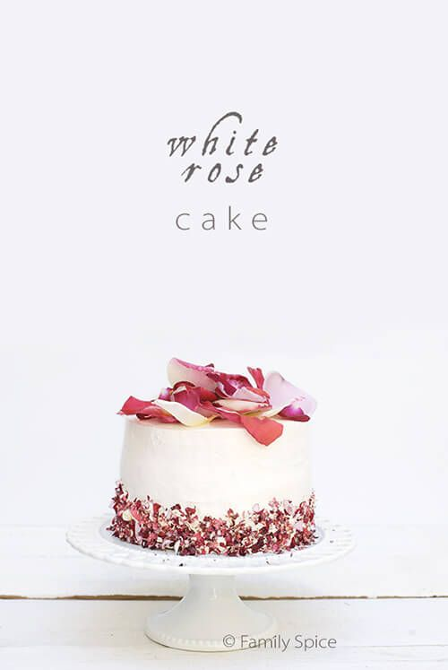 This White Rose Cake is baked with aromatic rose water and full of very edible pesticide-free rose petals inside and out.