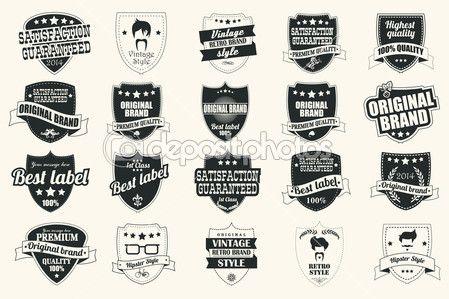 Коллекция Винтаж ретро этикетки, значки, марки, ленты, знаки и типографский дизайн элементов, векторные иллюстрации — Стоковое векторное изображение © BlueLela #43055281