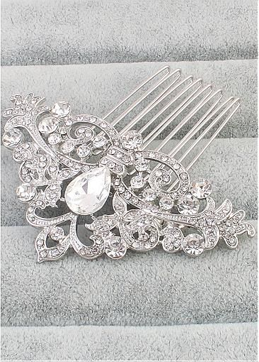 In Stock Sparkling Alloy Wedding Hair Ornament With Rhinestones