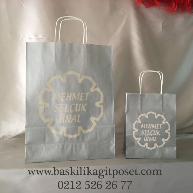 Gümüş Renkli Kraft Poşet | Beka Kağıtçılık
