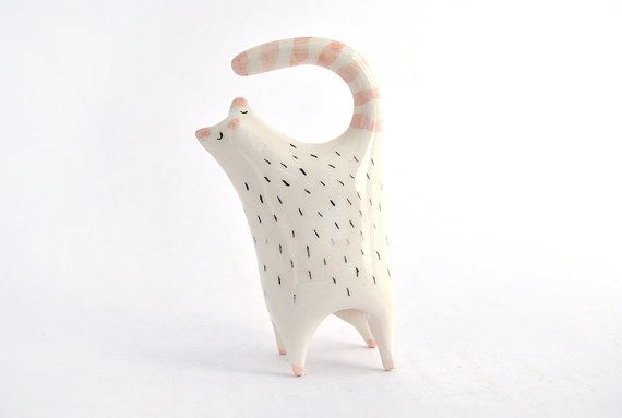 Little Ceramic Cat in White Clay and Decorated with by Barruntando, €12.00