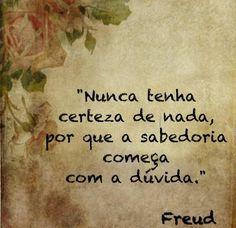 Nunca tenha certeza de nada, por que a sabedoria começa com a dúvida - Freud