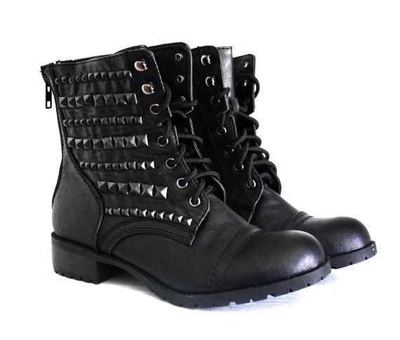 Black Studded Combat Boots Black by VileBroccoliFur on Etsy, $100.00