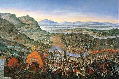 SEPT. 12, 1683:The Battle of Vienna.  The advance of the Ottoman Empire into Europe was halted when Ottoman forces were defeated by  forces from Poland, Austria and Germany, led by John III Sobieski, the King of Poland.  image:  Battle of Vienna 1683 Ottoman Kara Mustafa Pasha Starhemberg Turkish army Leopold I King Sobieski