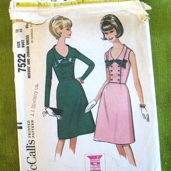 1960s Vintage Sewing Pattern - Fitted Bodice Dress with Bow - McCall's 7522 / Size 12