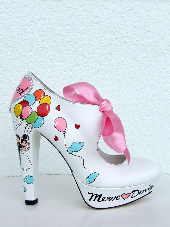 Rainbow Balloons - Handpainted Bridal Shoes - Customized Wedding Shoes op Etsy, 101,46€