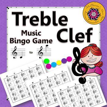 Treble Clef Music Bingo Game with ledger lines