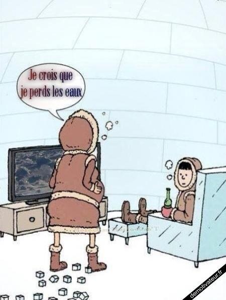 Au pays des inuits, perdre les eaux, ça jette un froid...