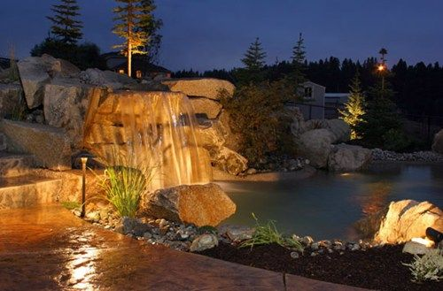Waterfall Lighting Mediterranean Landscaping Copper Creek Landscaping, Inc. Mead, WA