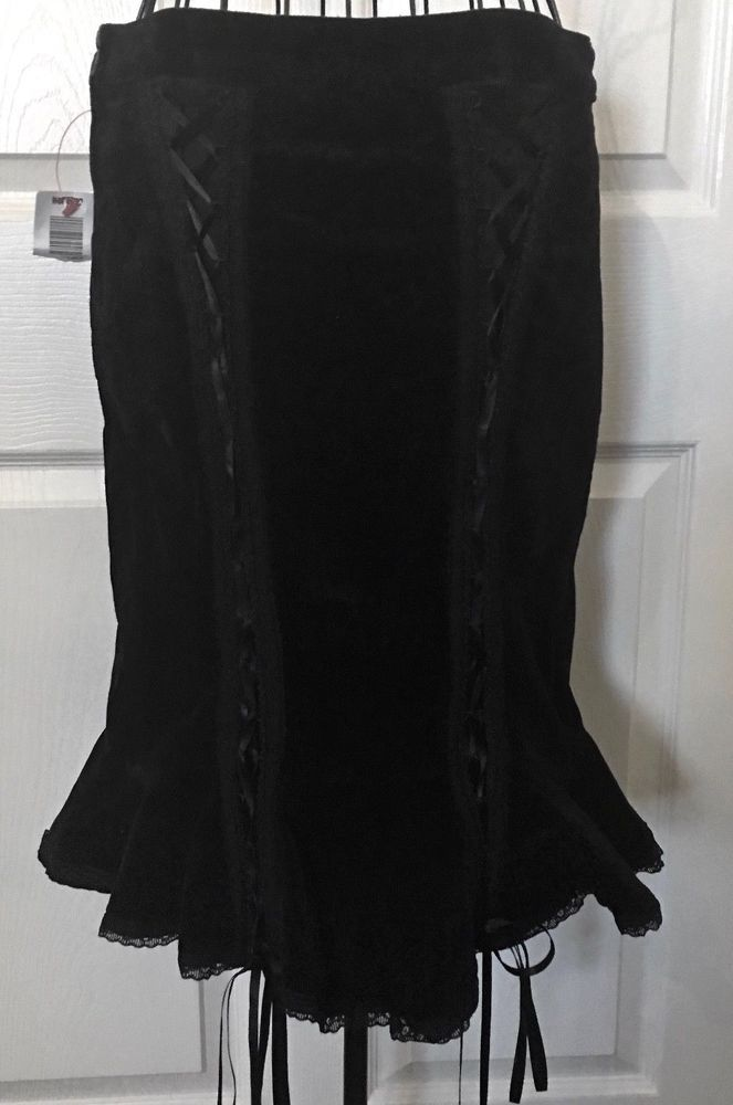 34baf4fc3cc NWT Tripp NYC Black Velvet Pencil Skirt Lace Lacings Ruffled Fitted Size  Medium  TrippNYC