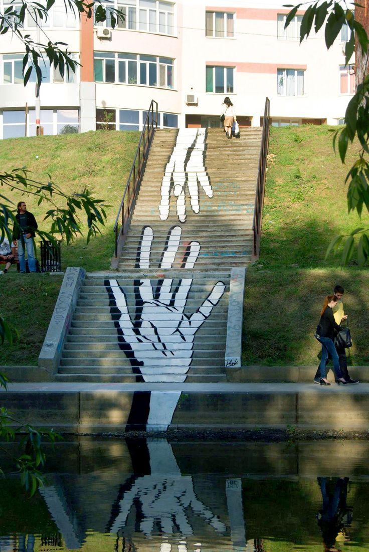 staircase street art.Street Art of the Month, June 2014, Inspiration, Art, Artnaz.com