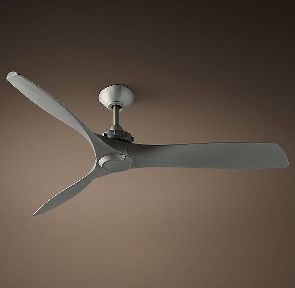 RH's Propeller Ceiling Fan:The elegant lines of our ceiling fan recall those of a vintage airplane propeller, similarly drawing on the science of aerodynamics to provide superior air circulation.