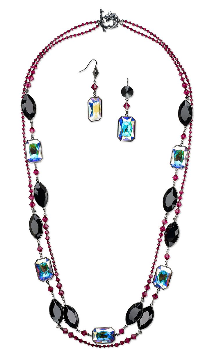 Jewelry Design - Double-Strand Necklace and Earring Set with Swarovski Crystal and Gunmetal-Plated Brass Settings - Fire Mountain Gems and Beads
