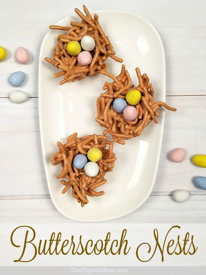 Butterscotch haystacks are so easy to make into nests. Perfect Easter dessert ju…   – Dessert