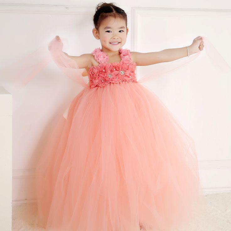 100% Real Photo enfants filles Peach robe pour parti princesse fleur bretelles filles d'anniversaire Tutu robes enfants parti vêtements PT24(China (Mainland))
