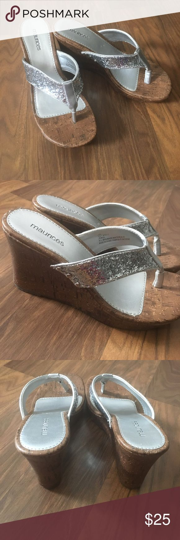 ❤ Silver Wedge Sandals!2-3 inch heel. Silver wedge Maurice's sandals!! Worn only for a few hours to my brothers graduation last year. Just too small now! It has a great gripped bottom that won't make you slip! Love these shoes. Wish the still fit! Maurices Shoes Wedges