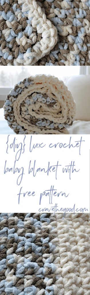 {DIY} Lux Crochet Baby Blanket With Free Pattern. A simple, beautiful and free crochet blanket pattern using Bernat Baby Blanket or other super bulky yarn. It's sure to be a treasured gift | cravethegood.com