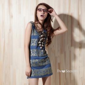 TS Retro Printed Sleeve Vest Dress   4.99 USD   Whole Sale