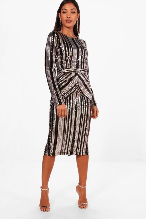 Boutique Lara Stripe Sequin Midi Dress #camidress