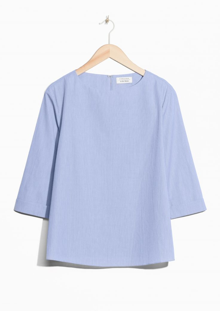 & Other Stories image 1 of Fold Sleeve Cotton Blouse in Blue