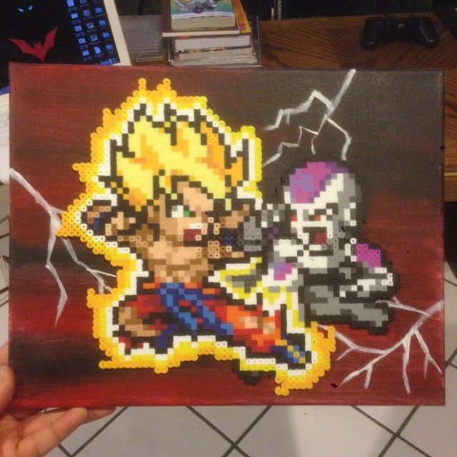 Goku Vs Frieza Dbz Perler Bead Sprite On A Painted Canvas By