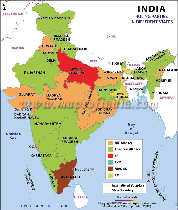 #IndianPoliticalParties : Map of Political Parties in States of India