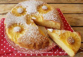 Torta con ananas ricetta facile e veloce.Torta senza burro, con fette e sciroppo di ananas, soffice e dal sapore delicato. Ideale per una sana colazione