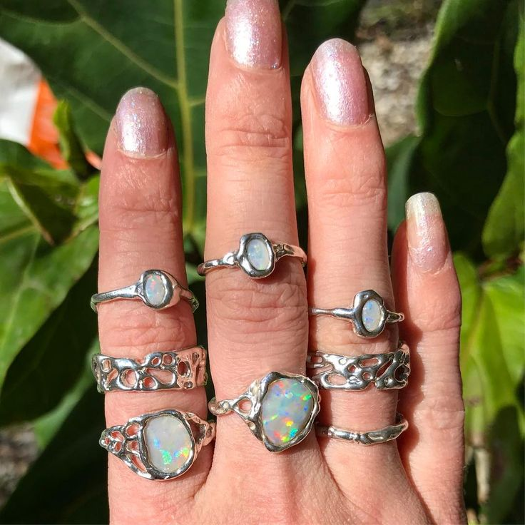 Handcrafted Holliegraphic opal rings.  http://www.holliegraphic.com/  Instagram @holliegraphic