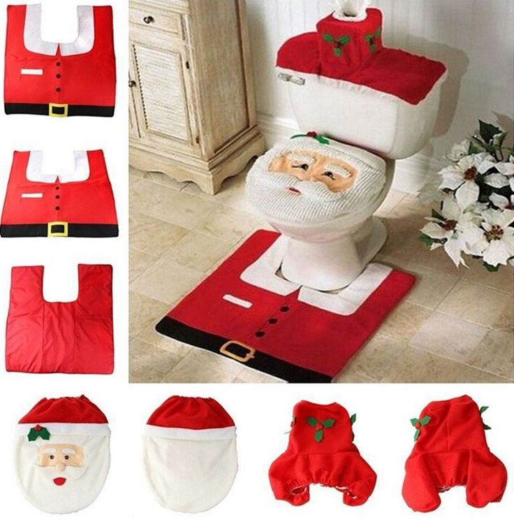 Christmas Decoration Supplies Santa Toilet Seat Cover Paper Towel Set Rug Bathroom
