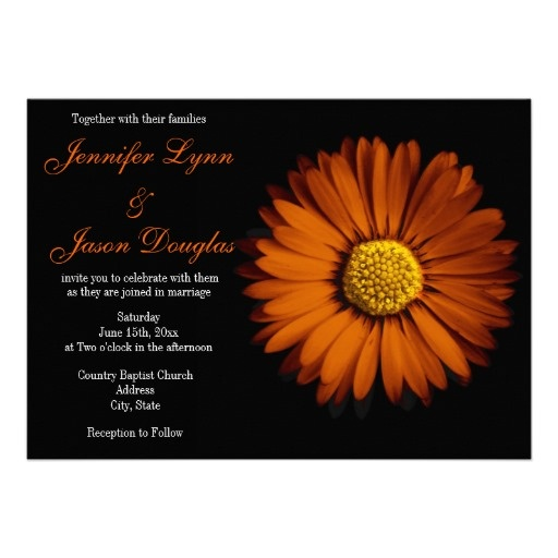 Orange Gerber Daisy Black Wedding Invitations