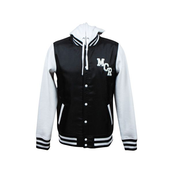 school sucks, start a band. hooded varsity jacket ($70) ❤ liked on Polyvore featuring outerwear, jackets, tops, my chemical romance, college jacket, varsity style jacket, hooded letterman jacket, teddy jacket and varsity jacket