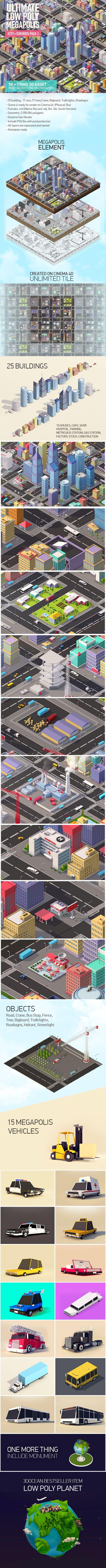 Ultimate Low Poly Megapolis (City + Suburbs) Pack 1 3D Models Design Template #cinema4d #3D #3dDesign Download here: https://3docean.net/item/ultimate-low-poly-megapolis-city-suburbs-pack-1/16882227?ref=yinkira