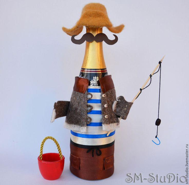 Купить Рыбак. Чехол на бутылку. Подарок рыбаку, мужчине, начальнику - рыбак, подарок рыбаку