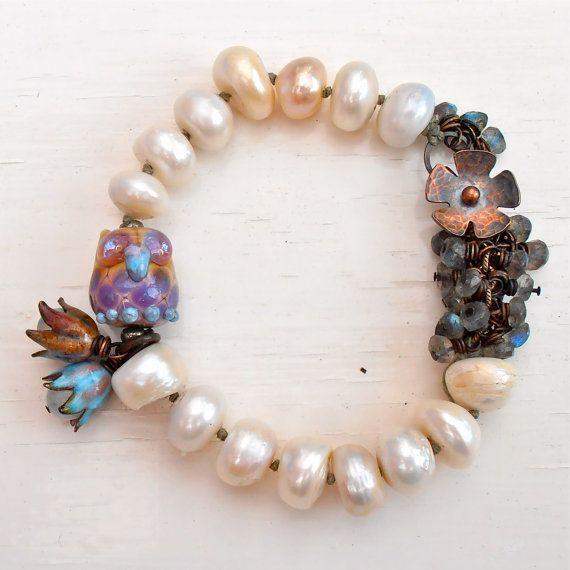 handmade beaded bracelet, handmade pearl bracelet, handmade lampwork bracelet, chunky bracelet, freshwater pearl bracelet, owl bracelet