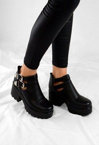 FAITH Chunky Heel Cut Out Grip Platform Buckle Ankle Boots                                                                                                                                                                                 More