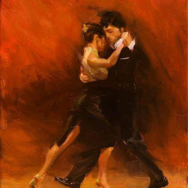 Original dance oil painting, Red Tango II, impressionism ...