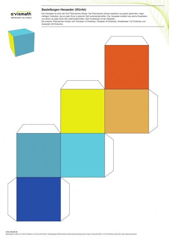 Platonische Körper Basteln. Ein Set mit fünf Bastelbögen. Hier: Hexaeder (Würfel) aus sechs Quadraten.