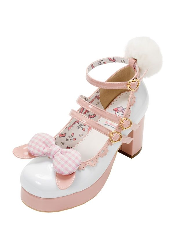 46.38$  Buy now - http://ali9gk.shopchina.info/go.php?t=32807081025 - Fluffy Ball Embellished Japanese Style Women Bow High Heels New 2017 Contrast Color Design Cartoon Character Printed Cos Shoes   #magazineonlinebeautiful