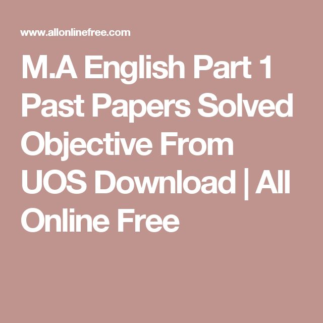 M.A English Part 1 Past Papers Solved Objective From UOS Download | All Online Free